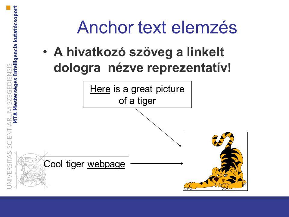 Anchor text elemzés A hivatkozó szöveg a linkelt dologra nézve reprezentatív! Here is a great picture of a tiger Cool tiger webpage