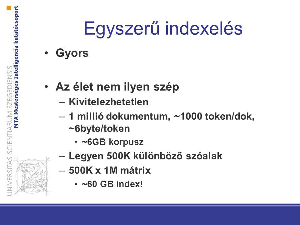 Egyszerű indexelés Gyors Az élet nem ilyen szép –Kivitelezhetetlen –1 millió dokumentum, ~1000 token/dok, ~6byte/token ~6GB korpusz –Legyen 500K külön