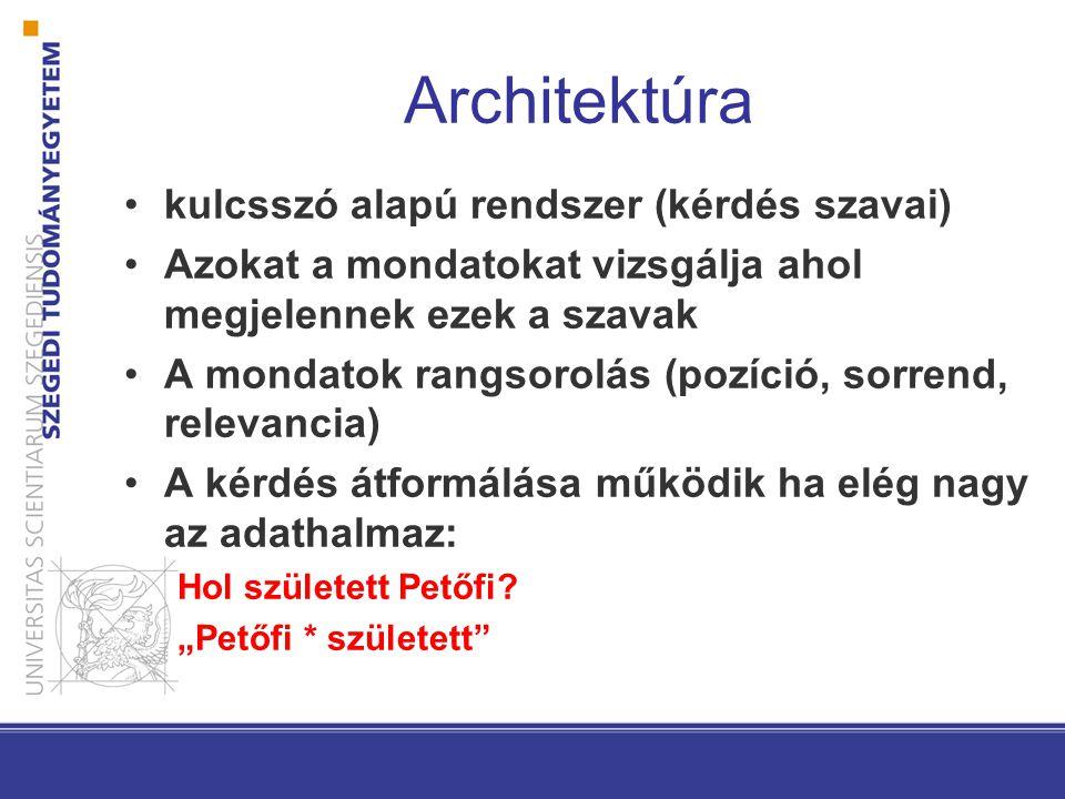 Architektúra kulcsszó alapú rendszer (kérdés szavai) Azokat a mondatokat vizsgálja ahol megjelennek ezek a szavak A mondatok rangsorolás (pozíció, sorrend, relevancia) A kérdés átformálása működik ha elég nagy az adathalmaz: Hol született Petőfi.