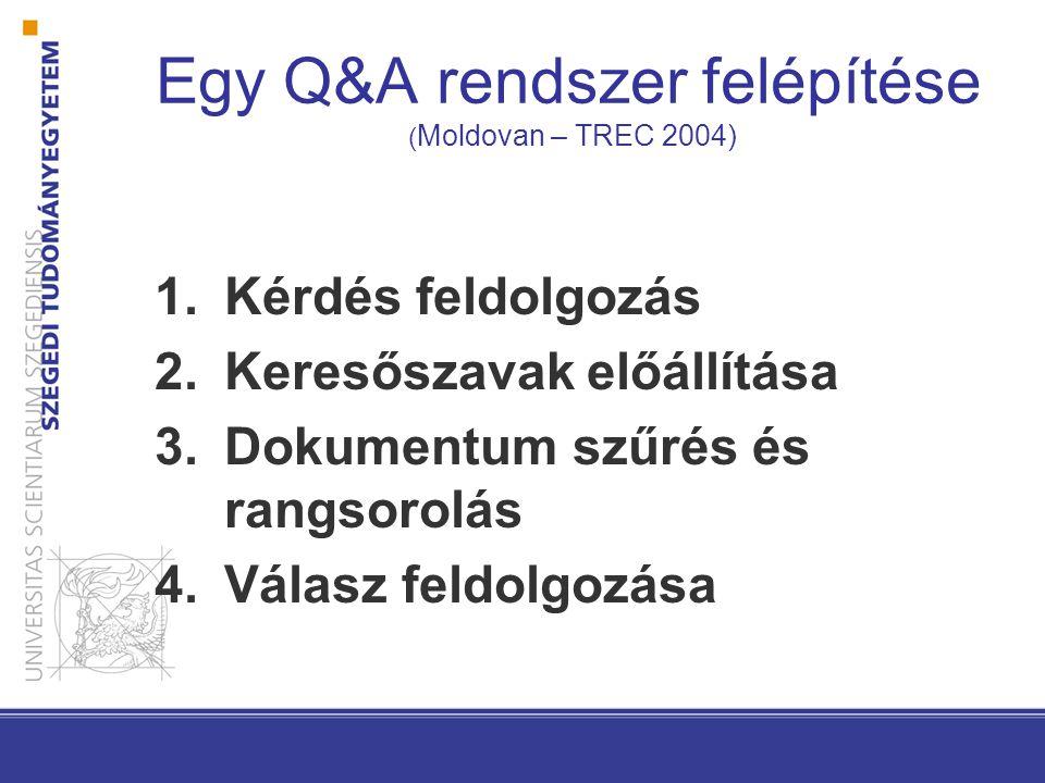 Egy Q&A rendszer felépítése ( Moldovan – TREC 2004) 1.Kérdés feldolgozás 2.Keresőszavak előállítása 3.Dokumentum szűrés és rangsorolás 4.Válasz feldolgozása