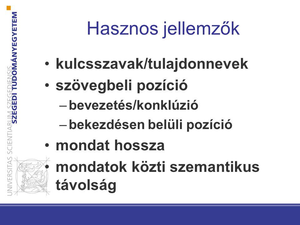 Hasznos jellemzők kulcsszavak/tulajdonnevek szövegbeli pozíció –bevezetés/konklúzió –bekezdésen belüli pozíció mondat hossza mondatok közti szemantiku
