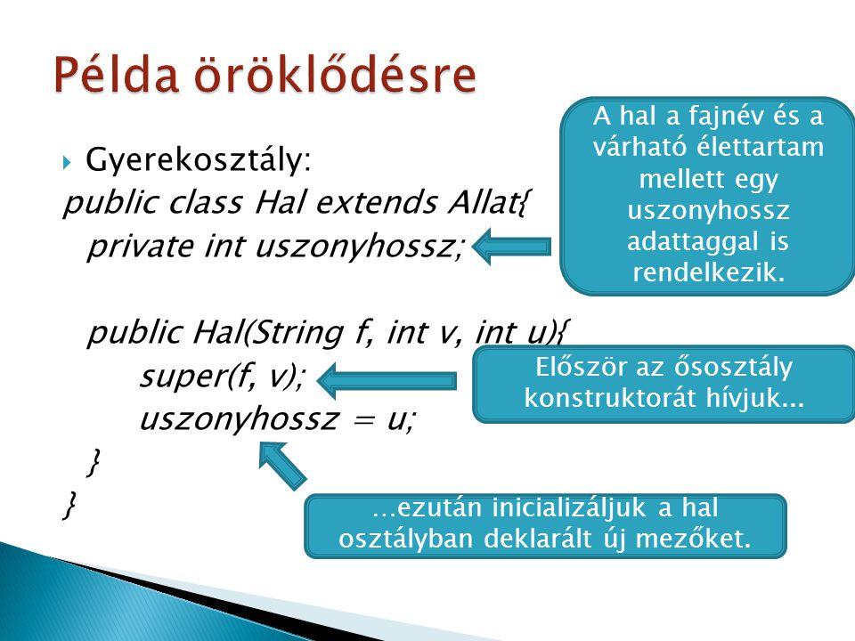  Gyerekosztály: public class Hal extends Allat{ private int uszonyhossz; public Hal(String f, int v, int u){ super(f, v); uszonyhossz = u; } A hal a