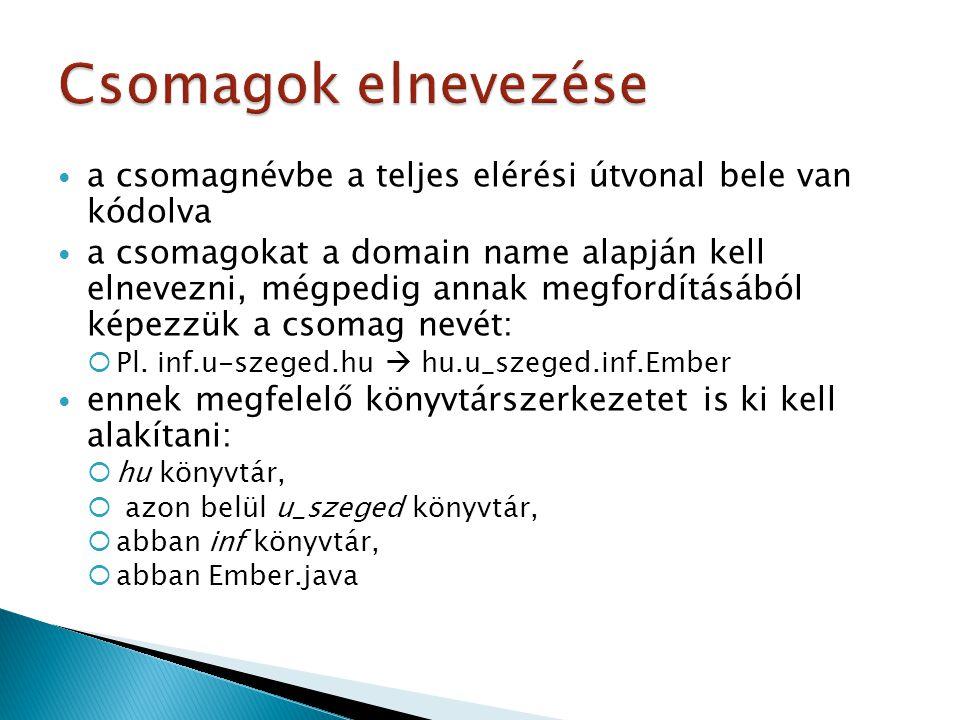 a csomagnévbe a teljes elérési útvonal bele van kódolva a csomagokat a domain name alapján kell elnevezni, mégpedig annak megfordításából képezzük a csomag nevét:  Pl.