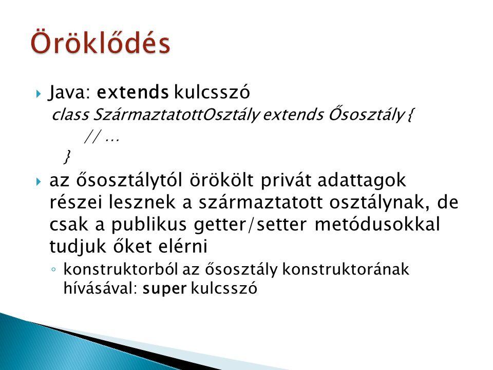  Java: extends kulcsszó class SzármaztatottOsztály extends Ősosztály { // … }  az ősosztálytól örökölt privát adattagok részei lesznek a származtato