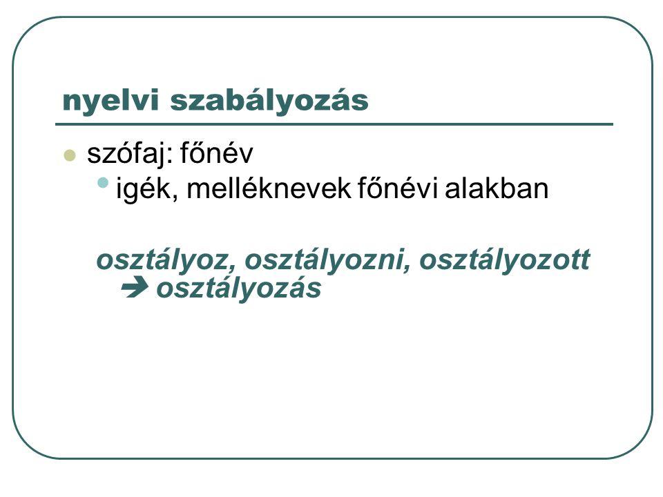 nyelvi szabályozás szófaj: főnév igék, melléknevek főnévi alakban osztályoz, osztályozni, osztályozott  osztályozás