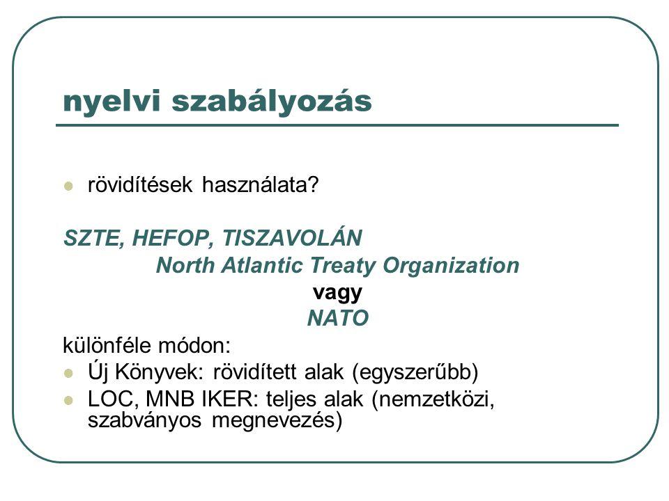 nyelvi szabályozás rövidítések használata? SZTE, HEFOP, TISZAVOLÁN North Atlantic Treaty Organization vagy NATO különféle módon: Új Könyvek: rövidítet