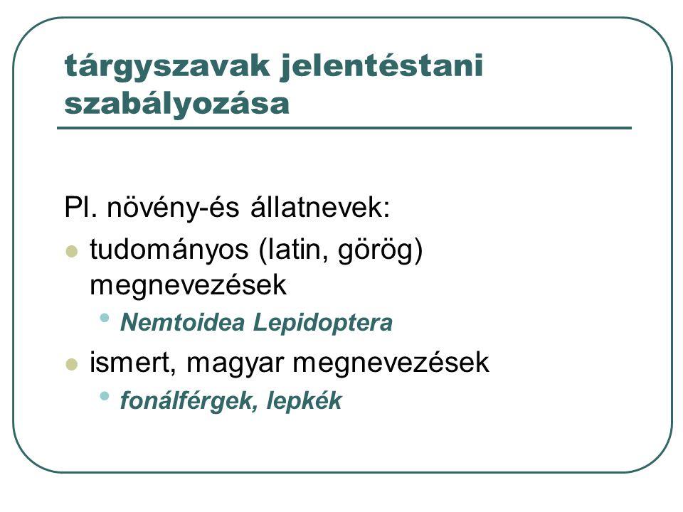 tárgyszavak jelentéstani szabályozása Pl. növény-és állatnevek: tudományos (latin, görög) megnevezések Nemtoidea Lepidoptera ismert, magyar megnevezés