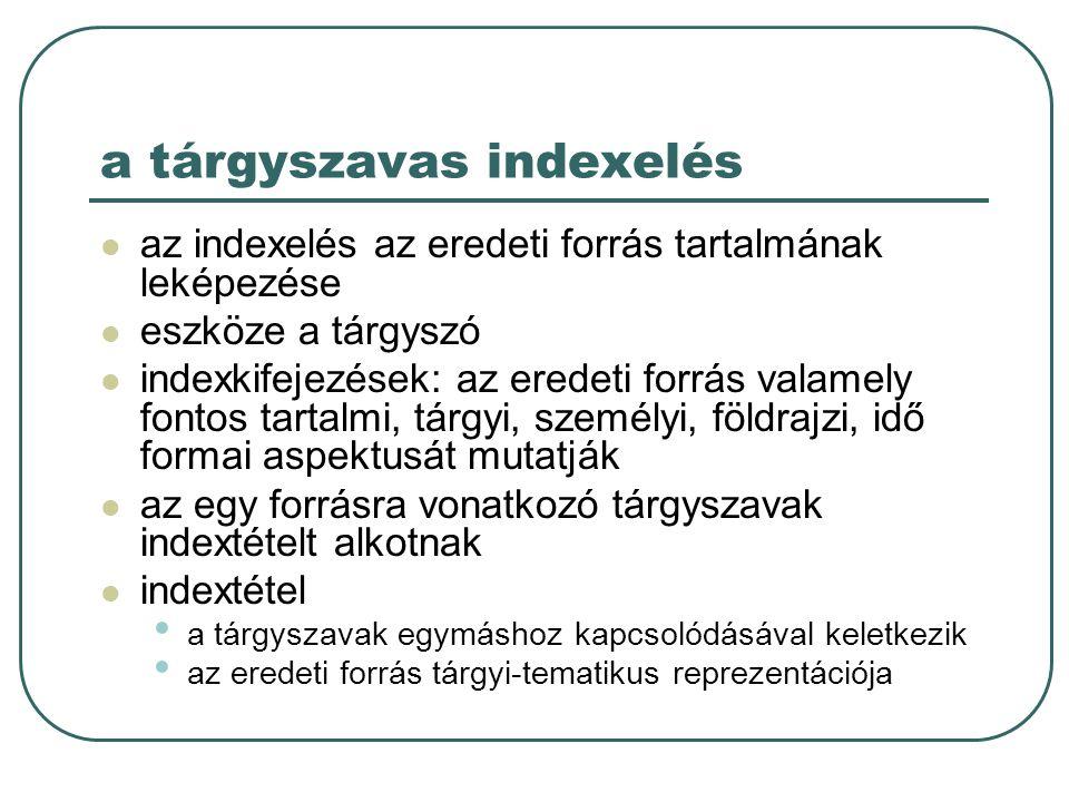 a tárgyszavas indexelés az indexelés az eredeti forrás tartalmának leképezése eszköze a tárgyszó indexkifejezések: az eredeti forrás valamely fontos t