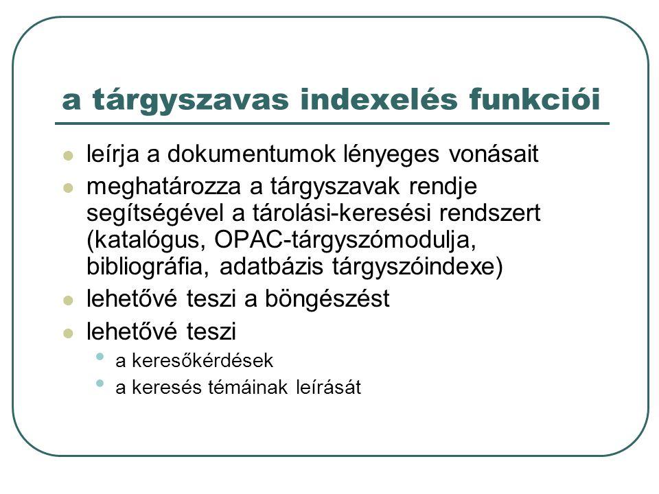 a tárgyszavas indexelés funkciói leírja a dokumentumok lényeges vonásait meghatározza a tárgyszavak rendje segítségével a tárolási-keresési rendszert