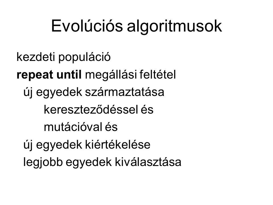 Evolúciós algoritmusok kezdeti populáció repeat until megállási feltétel új egyedek származtatása kereszteződéssel és mutációval és új egyedek kiértékelése legjobb egyedek kiválasztása