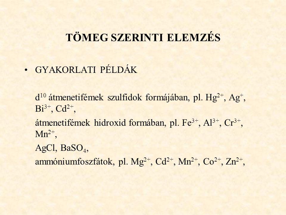 TÖMEG SZERINTI ELEMZÉS GYAKORLATI PÉLDÁK d 10 átmenetifémek szulfidok formájában, pl. Hg 2+, Ag +, Bi 3+, Cd 2+, átmenetifémek hidroxid formában, pl.