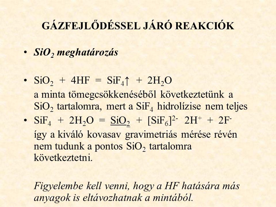 GÁZFEJLŐDÉSSEL JÁRÓ REAKCIÓK SiO 2 meghatározás SiO 2 + 4HF = SiF 4 ↑ + 2H 2 O a minta tömegcsökkenéséből következtetünk a SiO 2 tartalomra, mert a Si