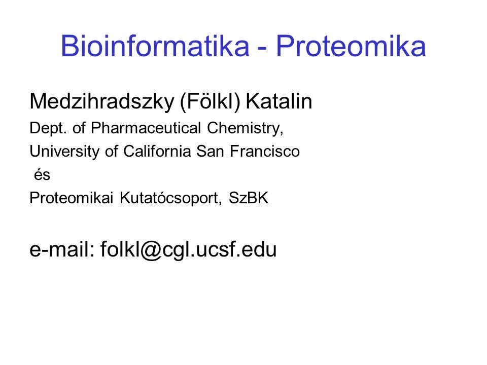 Bioinformatika - Proteomika Medzihradszky (Fölkl) Katalin Dept. of Pharmaceutical Chemistry, University of California San Francisco és Proteomikai Kut