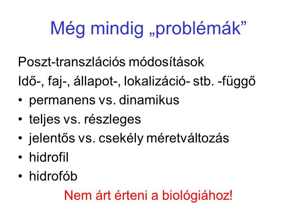 """Még mindig """"problémák"""" Poszt-transzlációs módosítások Idő-, faj-, állapot-, lokalizáció- stb. -függő permanens vs. dinamikus teljes vs. részleges jele"""