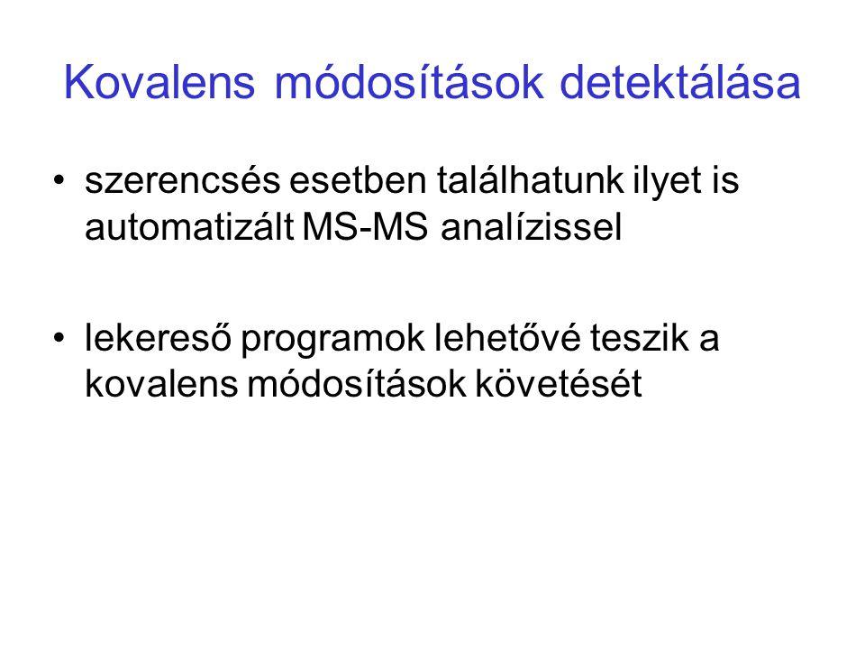 Kovalens módosítások detektálása szerencsés esetben találhatunk ilyet is automatizált MS-MS analízissel lekereső programok lehetővé teszik a kovalens