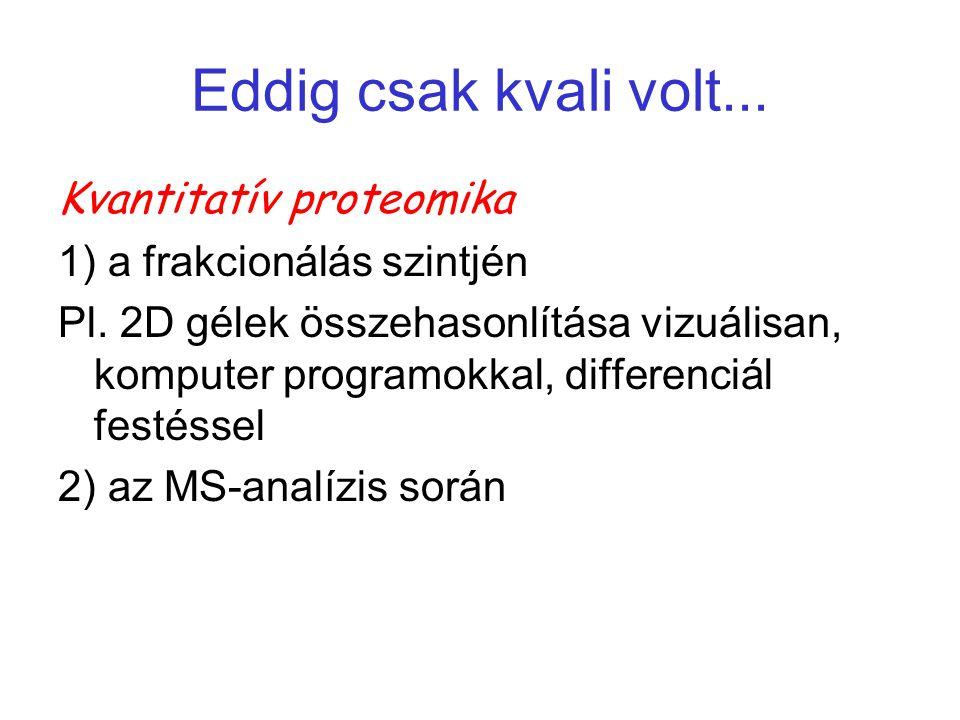Eddig csak kvali volt... Kvantitatív proteomika 1) a frakcionálás szintjén Pl. 2D gélek összehasonlítása vizuálisan, komputer programokkal, differenci