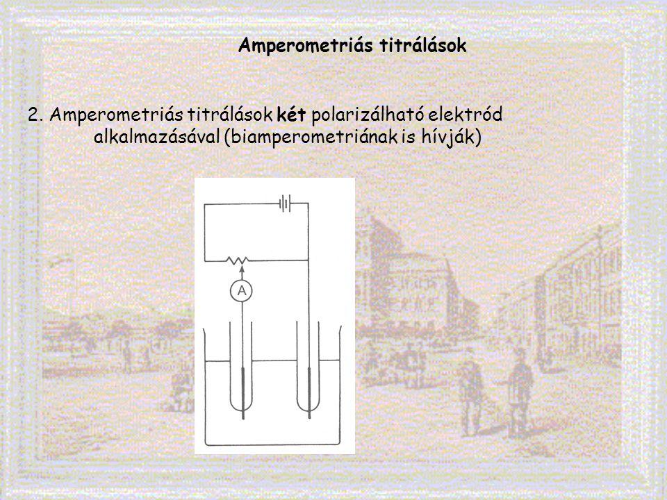 Amperometriás titrálások 2. Amperometriás titrálások két polarizálható elektród alkalmazásával (biamperometriának is hívják)