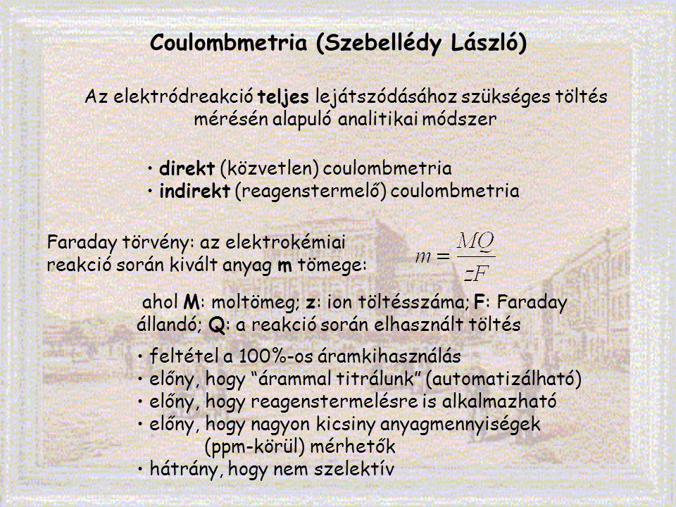 Coulombmetria (Szebellédy László) Az elektródreakció teljes lejátszódásához szükséges töltés mérésén alapuló analitikai módszer Faraday törvény: az el