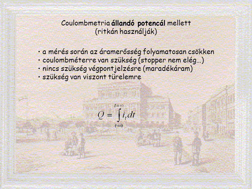 Coulombmetria állandó potencál mellett (ritkán használják) a mérés során az áramerősség folyamatosan csökken coulombméterre van szükség (stopper nem e