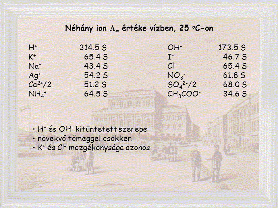 Néhány ion   értéke vízben, 25 o C-on H + 314.5 SOH - 173.5 S K + 65.4 SI - 46.7 S Na + 43.4 SCl - 65.4 S Ag + 54.2 SNO 3 - 61.8 S Ca 2+ /251.2 SSO
