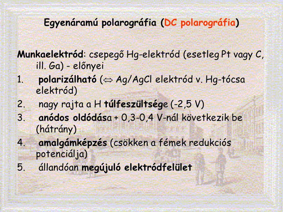 Egyenáramú polarográfia (DC polarográfia) Munkaelektród: csepegő Hg-elektród (esetleg Pt vagy C, ill. Ga) - előnyei 1. polarizálható (  Ag/AgCl elekt