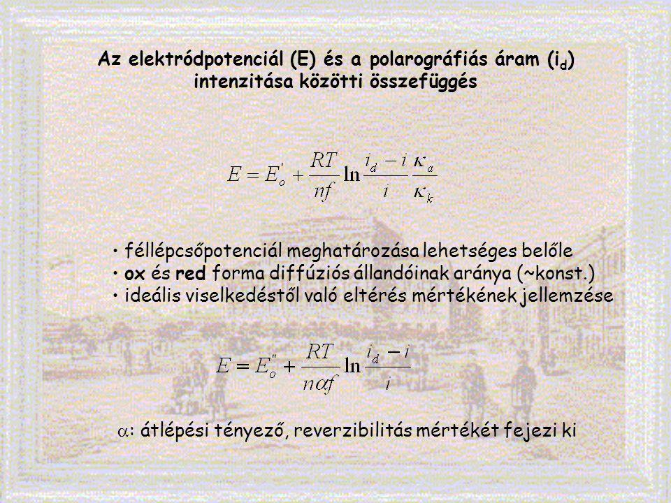 Az elektródpotenciál (E) és a polarográfiás áram (i d ) intenzitása közötti összefüggés féllépcsőpotenciál meghatározása lehetséges belőle ox és red f