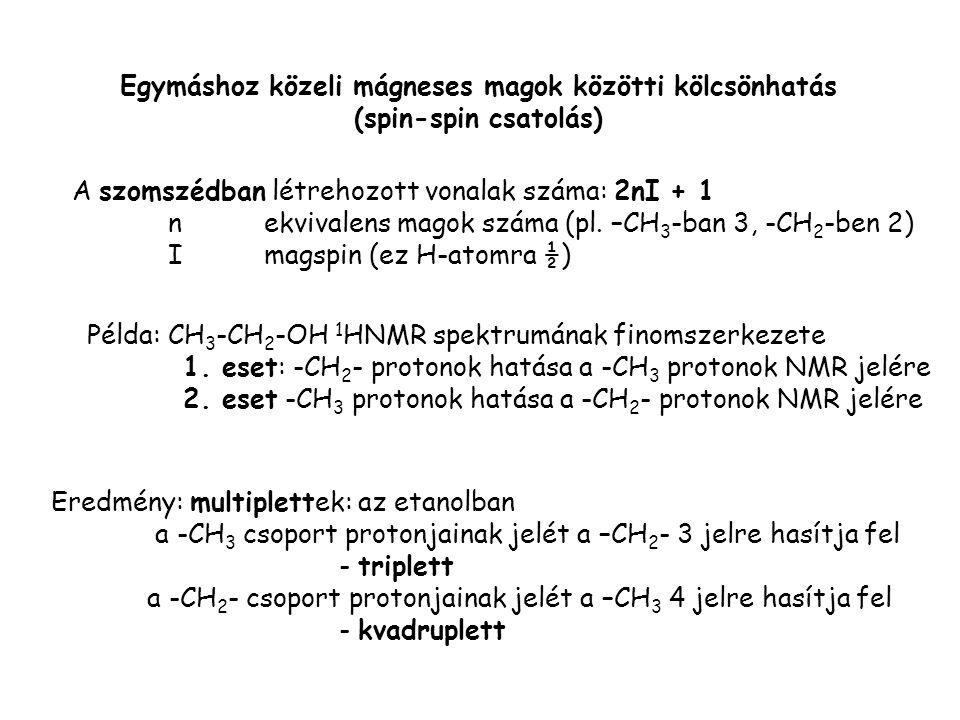 Egymáshoz közeli mágneses magok közötti kölcsönhatás (spin-spin csatolás) A szomszédban létrehozott vonalak száma: 2nI + 1 nekvivalens magok száma (pl