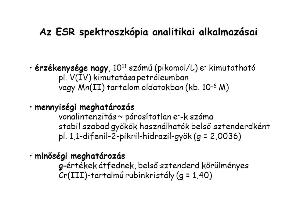 Az ESR spektroszkópia analitikai alkalmazásai érzékenysége nagy, 10 11 számú (pikomol/L) e - kimutatható pl. V(IV) kimutatása petróleumban vagy Mn(II)