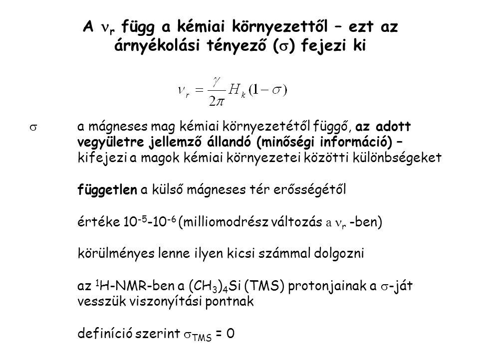 A r függ a kémiai környezettől – ezt az árnyékolási tényező (  ) fejezi ki  a mágneses mag kémiai környezetétől függő, az adott vegyületre jellemző