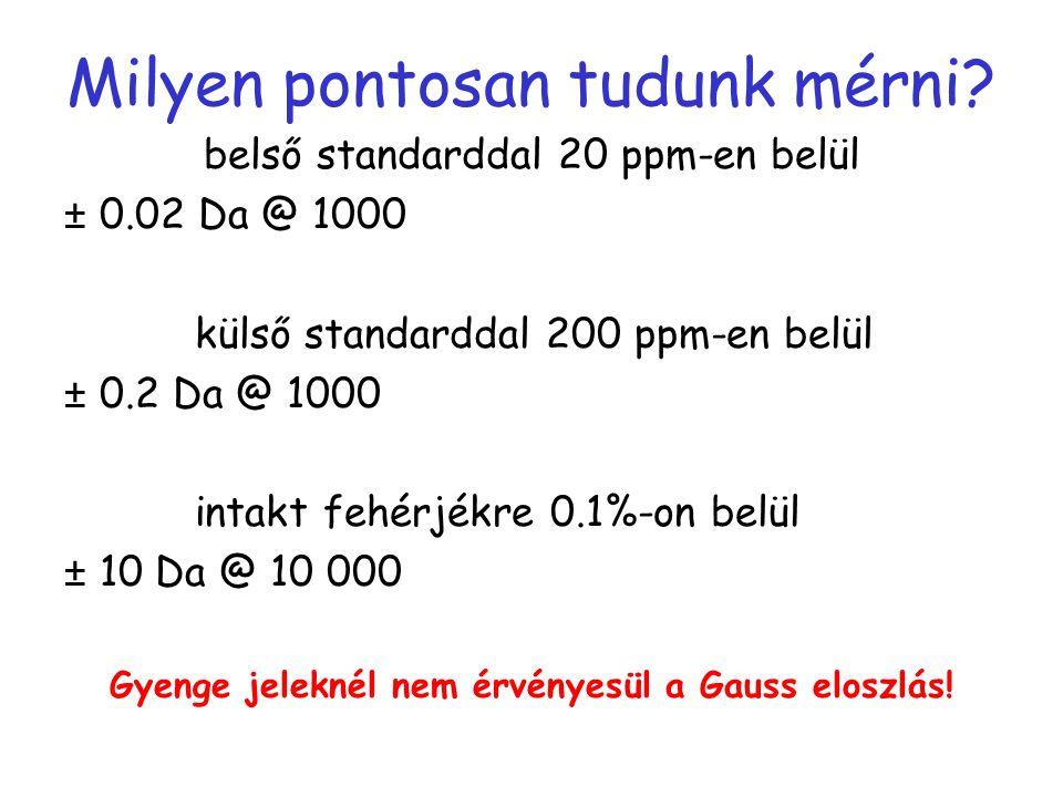 Milyen pontosan tudunk mérni? belső standarddal 20 ppm-en belül ± 0.02 Da @ 1000 külső standarddal 200 ppm-en belül ± 0.2 Da @ 1000 intakt fehérjékre