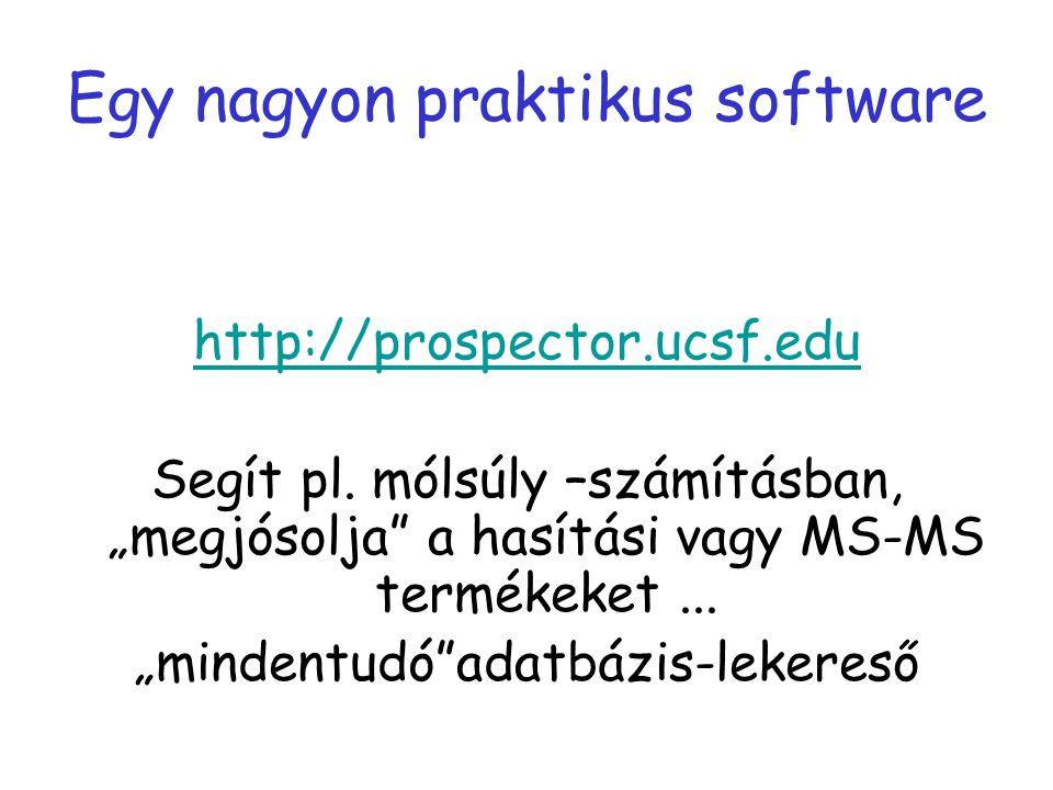 """Egy nagyon praktikus software http://prospector.ucsf.edu Segít pl. mólsúly –számításban, """"megjósolja"""" a hasítási vagy MS-MS termékeket... """"mindentudó"""""""