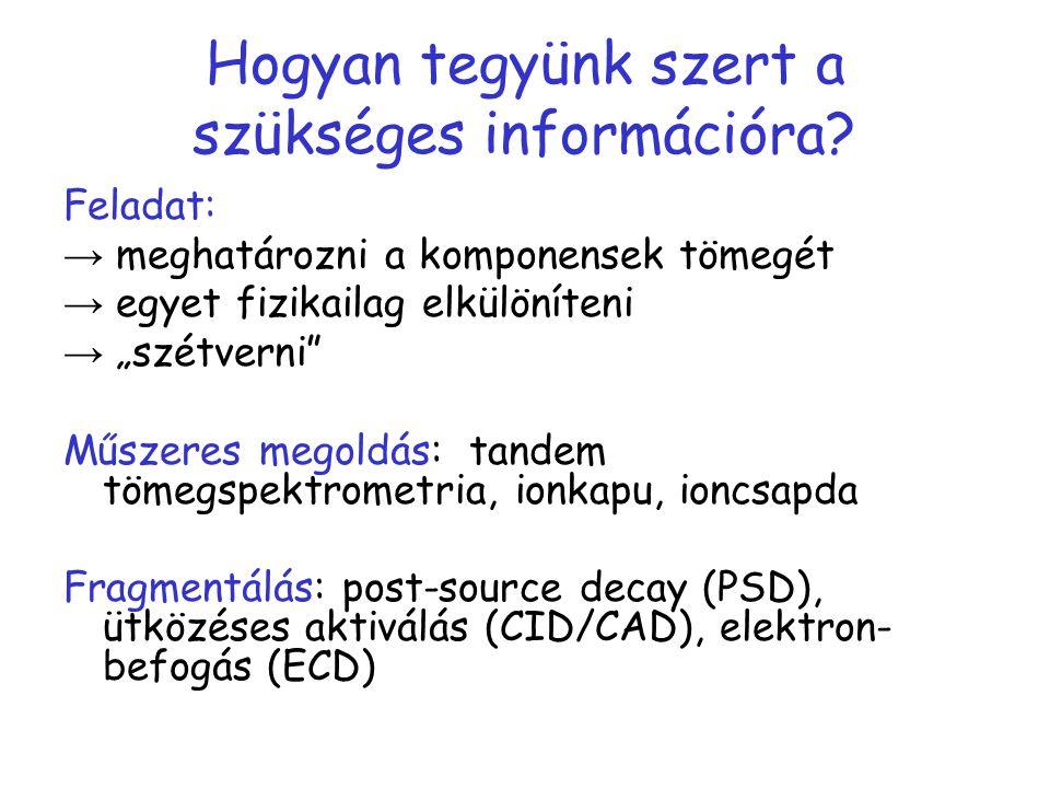"""Hogyan tegyünk szert a szükséges információra? Feladat: → meghatározni a komponensek tömegét → egyet fizikailag elkülöníteni → """"szétverni"""" Műszeres me"""
