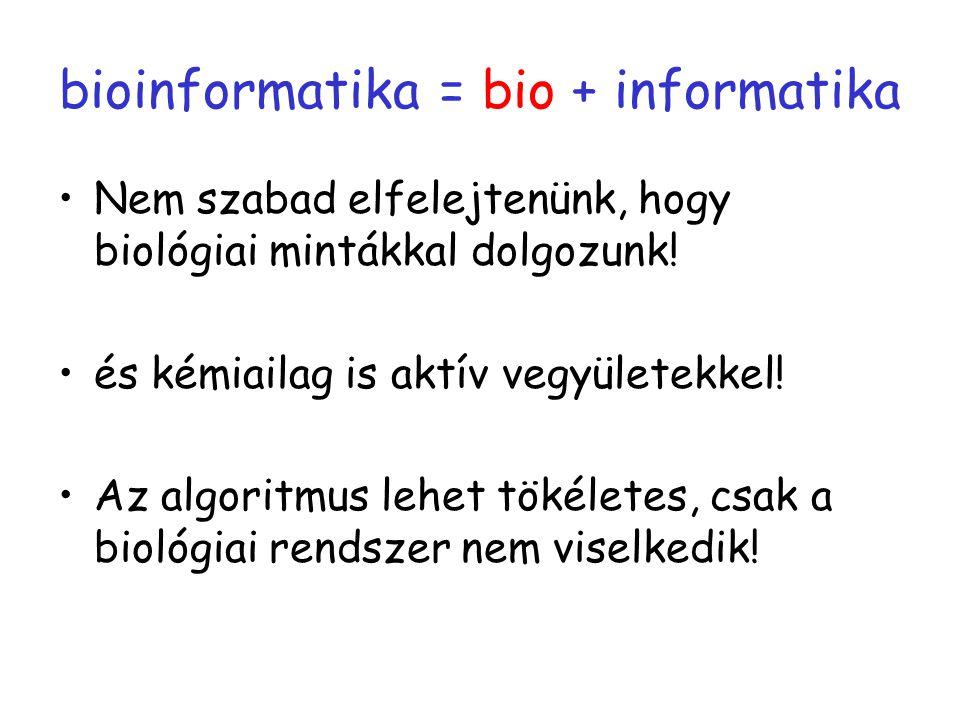 bioinformatika = bio + informatika Nem szabad elfelejtenünk, hogy biológiai mintákkal dolgozunk! és kémiailag is aktív vegyületekkel! Az algoritmus le