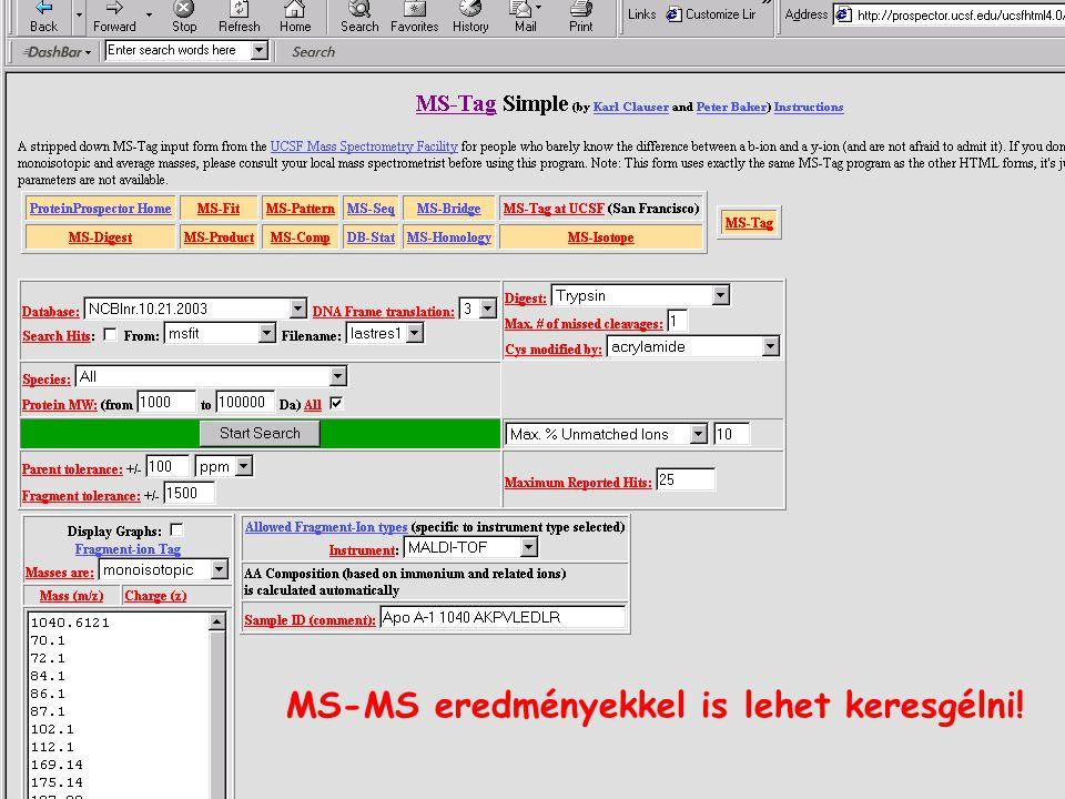MS-MS eredményekkel is lehet keresgélni!