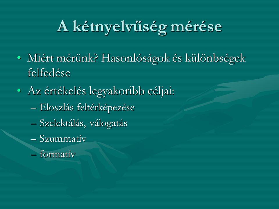 A kétnyelvűség mérése Miért mérünk? Hasonlóságok és különbségek felfedéseMiért mérünk? Hasonlóságok és különbségek felfedése Az értékelés legyakoribb