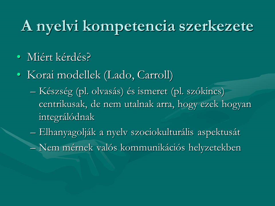 A nyelvi kompetencia szerkezete Miért kérdés?Miért kérdés? Korai modellek (Lado, Carroll)Korai modellek (Lado, Carroll) –Készség (pl. olvasás) és isme