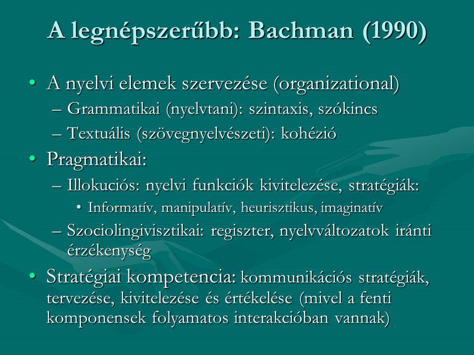 A legnépszerűbb: Bachman (1990) A nyelvi elemek szervezése (organizational)A nyelvi elemek szervezése (organizational) –Grammatikai (nyelvtani): szint