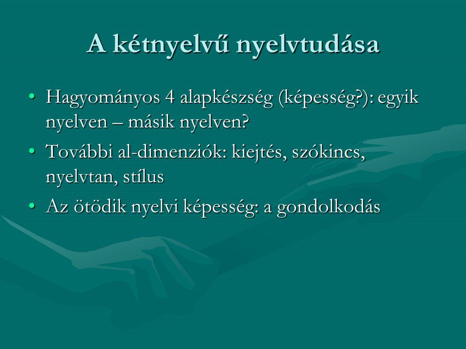 A kétnyelvű nyelvtudása Hagyományos 4 alapkészség (képesség?): egyik nyelven – másik nyelven?Hagyományos 4 alapkészség (képesség?): egyik nyelven – má