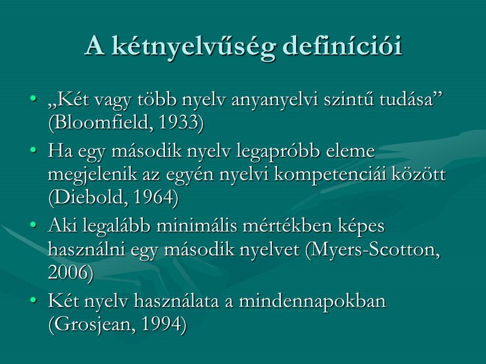 """A kétnyelvűség definíciói """"Két vagy több nyelv anyanyelvi szintű tudása"""" (Bloomfield, 1933)""""Két vagy több nyelv anyanyelvi szintű tudása"""" (Bloomfield,"""