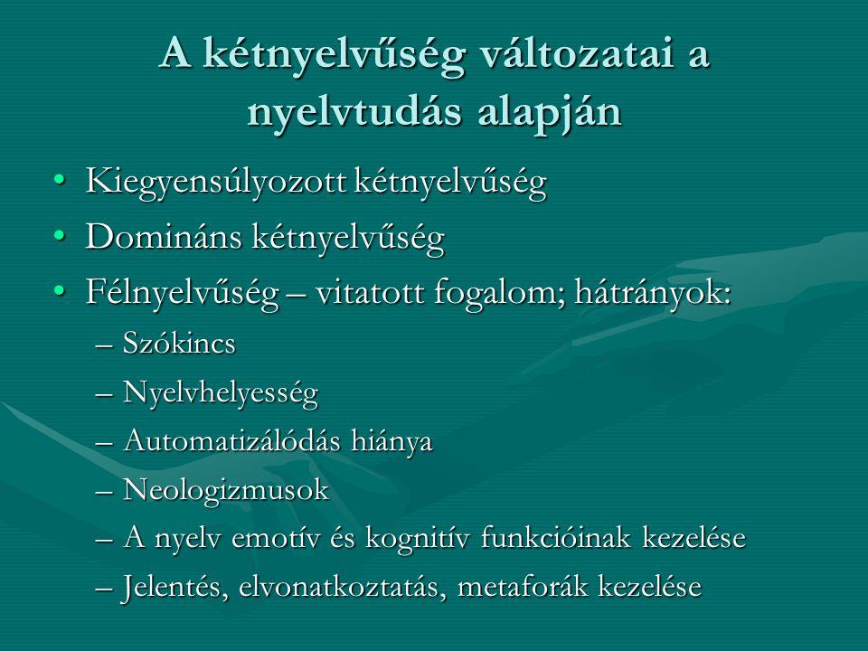 A kétnyelvűség változatai a nyelvtudás alapján Kiegyensúlyozott kétnyelvűségKiegyensúlyozott kétnyelvűség Domináns kétnyelvűségDomináns kétnyelvűség F