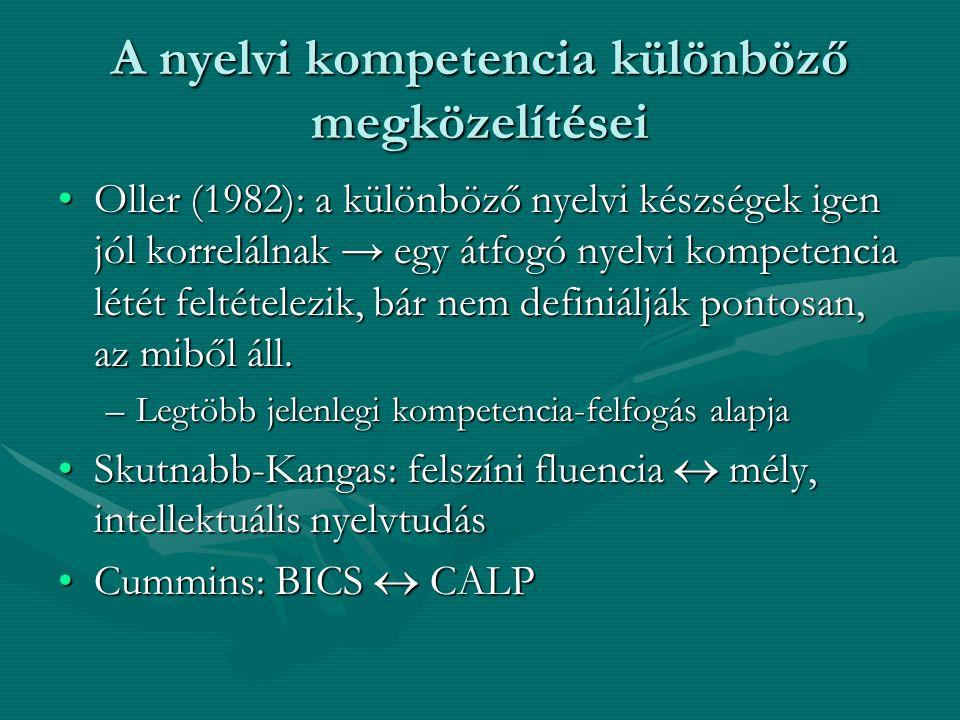 A nyelvi kompetencia különböző megközelítései Oller (1982): a különböző nyelvi készségek igen jól korrelálnak → egy átfogó nyelvi kompetencia létét fe