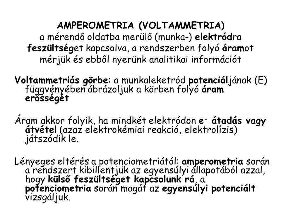 AMPEROMETRIA (VOLTAMMETRIA) a mérendő oldatba merülő (munka-) elektródra feszültséget kapcsolva, a rendszerben folyó áramot mérjük és ebből nyerünk an