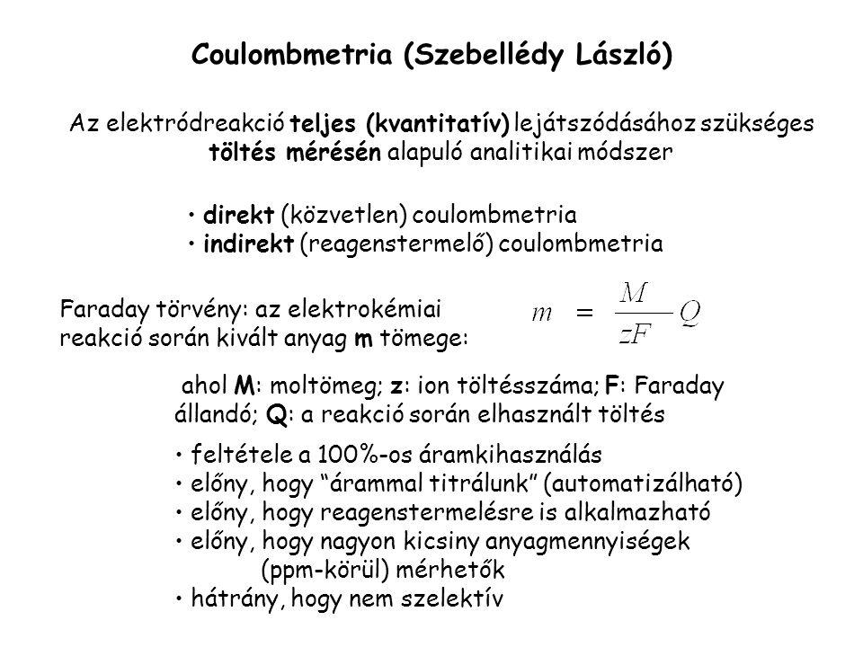 Coulombmetria (Szebellédy László) Az elektródreakció teljes (kvantitatív) lejátszódásához szükséges töltés mérésén alapuló analitikai módszer Faraday