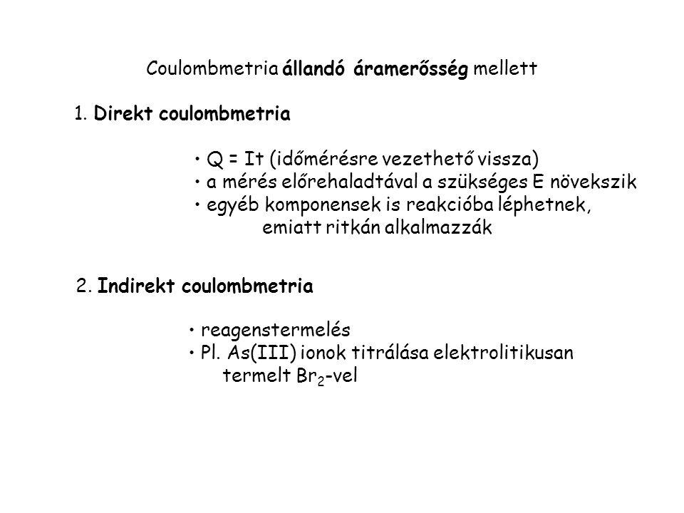 Coulombmetria állandó áramerősség mellett 1. Direkt coulombmetria Q = It (időmérésre vezethető vissza) a mérés előrehaladtával a szükséges E növekszik