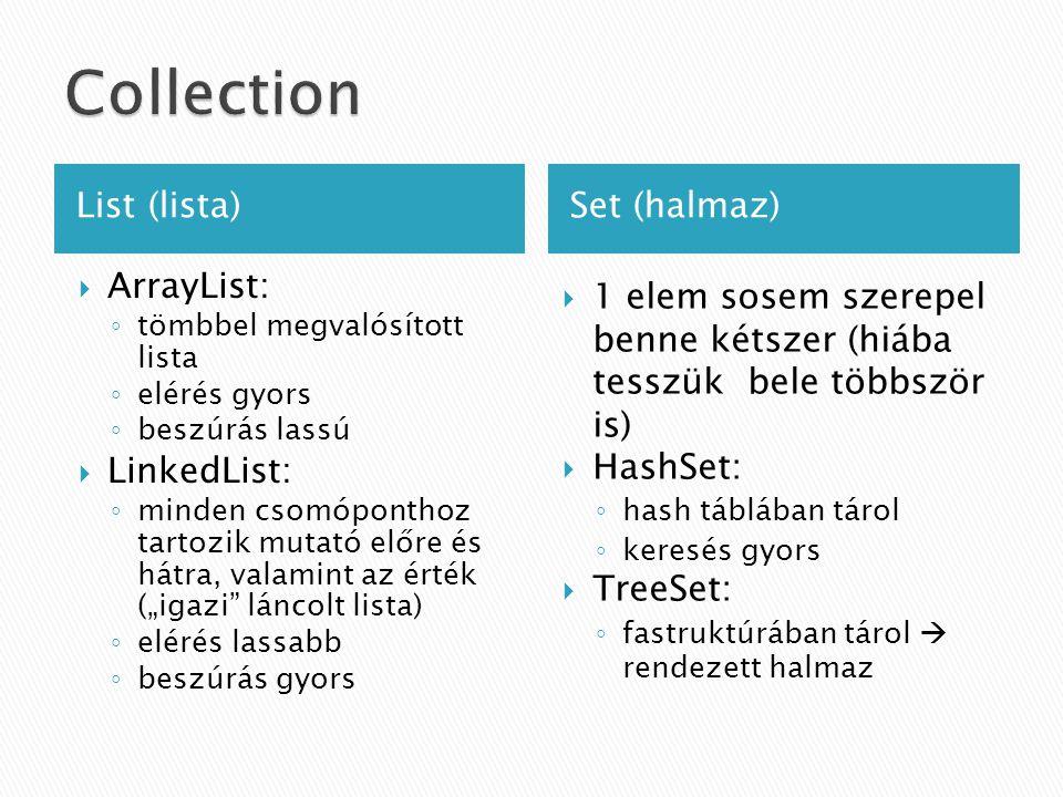""" ArrayList: ◦ tömbbel megvalósított lista ◦ elérés gyors ◦ beszúrás lassú  LinkedList: ◦ minden csomóponthoz tartozik mutató előre és hátra, valamint az érték (""""igazi láncolt lista) ◦ elérés lassabb ◦ beszúrás gyors List (lista)Set (halmaz)  1 elem sosem szerepel benne kétszer (hiába tesszük bele többször is)  HashSet: ◦ hash táblában tárol ◦ keresés gyors  TreeSet: ◦ fastruktúrában tárol  rendezett halmaz"""