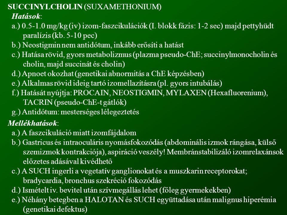 SUCCINYLCHOLIN (SUXAMETHONIUM) Hatások: a.) 0.5-1.0 mg/kg (iv) izom-faszcikulációk (I. blokk fázis: 1-2 sec) majd pettyhüdt paralízis (kb. 5-10 pec) b