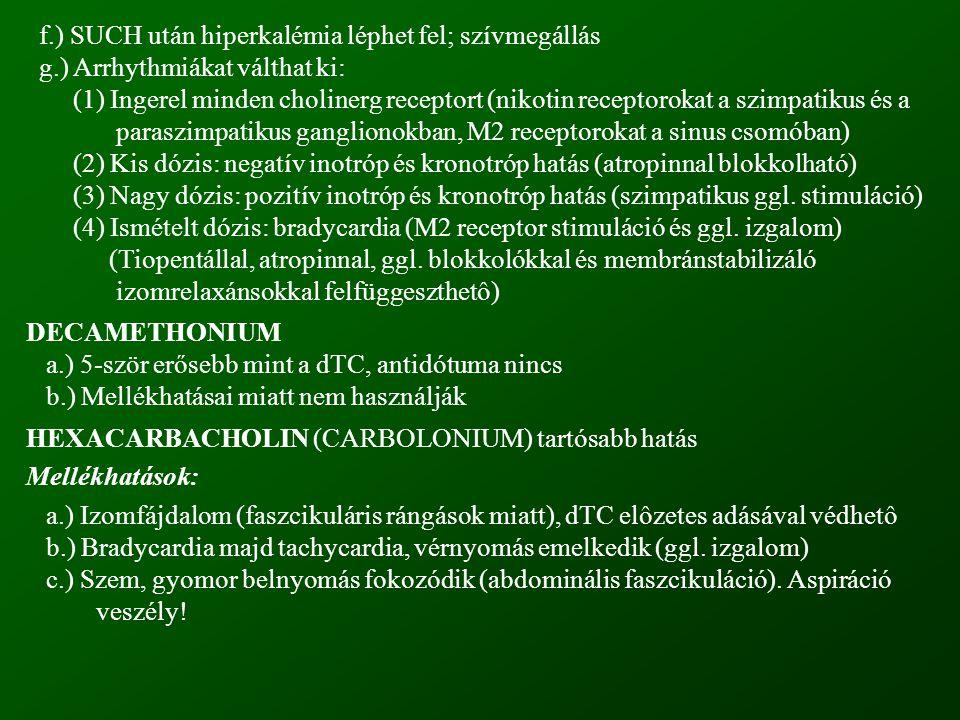 f.) SUCH után hiperkalémia léphet fel; szívmegállás g.) Arrhythmiákat válthat ki: (1) Ingerel minden cholinerg receptort (nikotin receptorokat a szimp