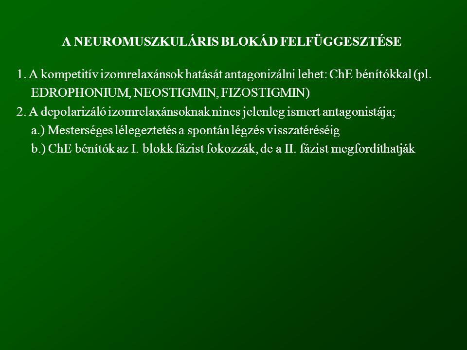A NEUROMUSZKULÁRIS BLOKÁD FELFÜGGESZTÉSE 1. A kompetitív izomrelaxánsok hatását antagonizálni lehet: ChE bénítókkal (pl. EDROPHONIUM, NEOSTIGMIN, FIZO