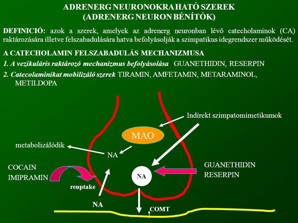 ADRENERG NEURONOKRA HATÓ SZEREK (ADRENERG NEURON BÉNÍTÓK) DEFINICIÓ: azok a szerek, amelyek az adrenerg neuronban lévő catecholaminok (CA) raktározásá