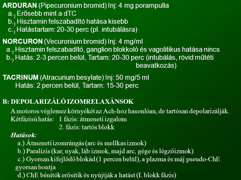 ARDURAN (Pipecuronium bromid) Inj: 4 mg porampulla a. ) Erősebb mint a dTC b. ) Hisztamin felszabadító hatása kisebb c. ) Hatástartam: 20-30 perc (pl.